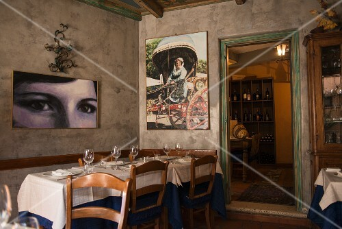 Pictures in a restaurant in Rome, Italy
