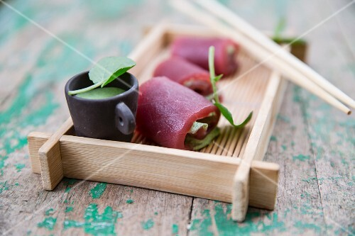 Tuna fish rolls with wasabi