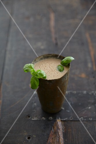Tomato and soya smoothie with basil