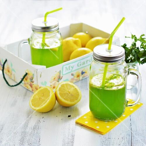 Lemonade made with fresh lemons and herbs