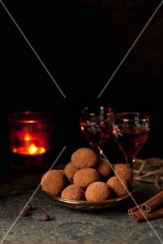 Aztec truffle pralines with sherry