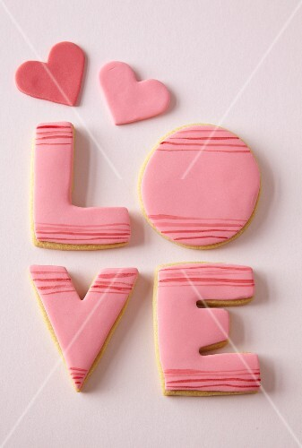 Love biscuits spelling the word LOVE for Valentine's Day