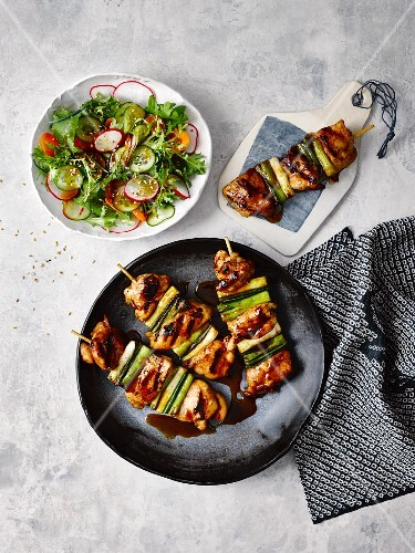 Chicken yakitori with a side salad (Japan)