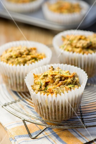 Carrot and courgette muffins on a cooling rack