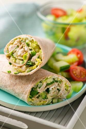 Chicken tikka wraps with vegetable salad