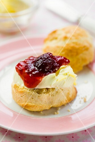 Scones with clotted cream and strawberry jam (England)