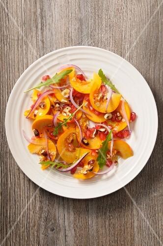 Pumpkin salad with pomegranate seeds and lemon confit