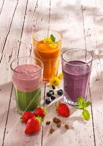 Three fruit smoothies