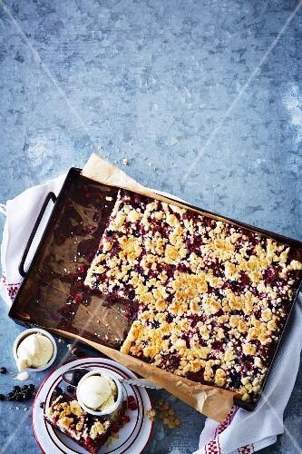 Chocolate traybake with redcurrants