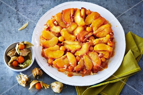 Peach & ginger tart with physallis