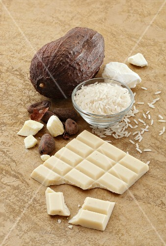 A bar of rice milk chocolate made from rice syrup, cocoa butter and sugar
