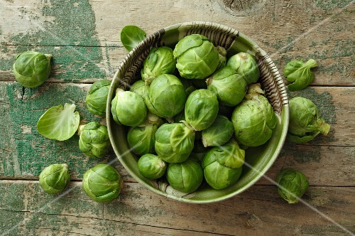 Fresh Brussels sprouts (seen from above)