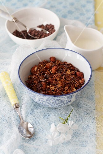 Chocolate muesli with milk