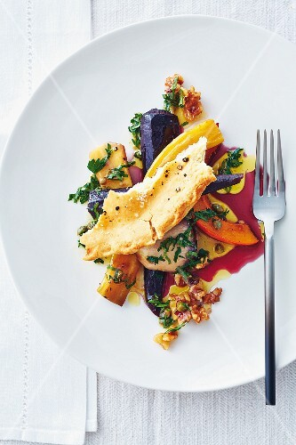 Winter vegetables with a walnut dressing
