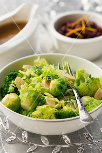 A Brussels sprouts and broccoli medley with flaked almonds
