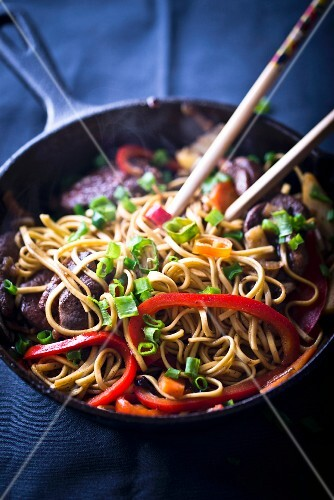 Fried noodles with duck (Asia)