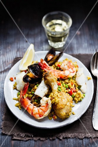 Paella with seafood and chicken