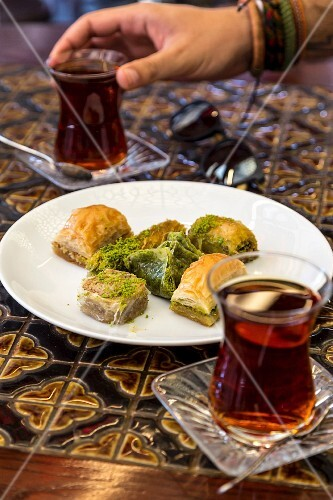 Baklava and tea, Istanbul, Turkey