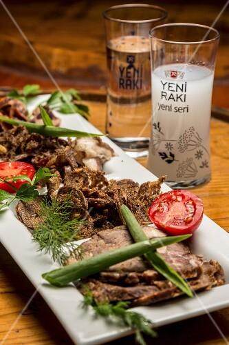Dried meat and raki, Istanbul, Turkey