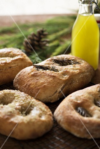 Rustic bread with pine nuts and roaemary