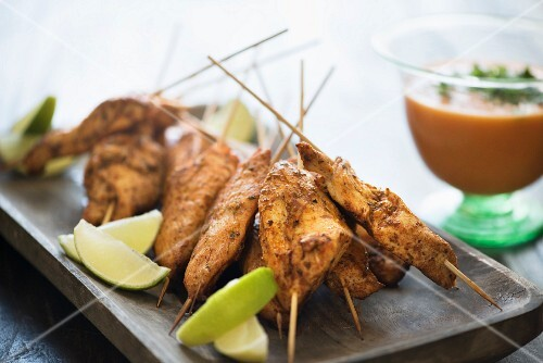 Chicken skewers with a tomato and chilli dip