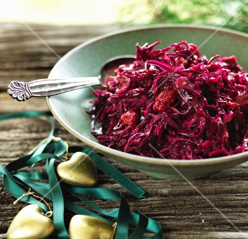 Homemade red cabbage salad for Christmas