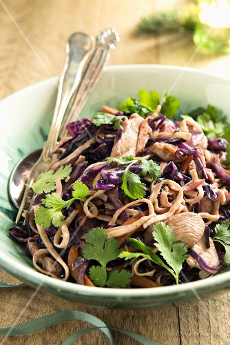 Fried noodles with chicken, red cabbage, sweet potatoes and coriander