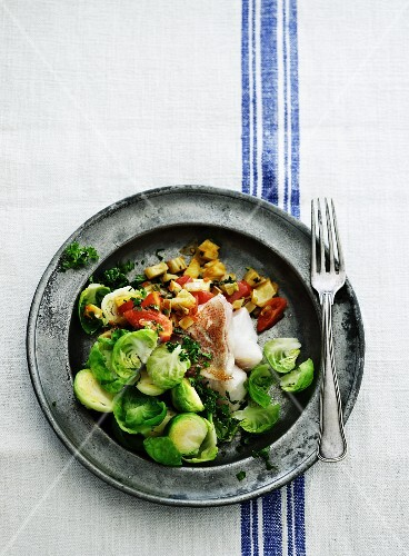 Fish fillet with a Brussels sprouts medley