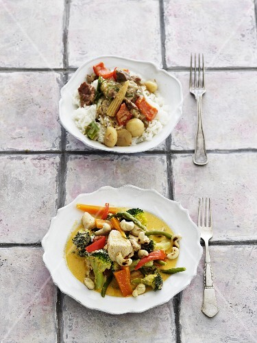 Chicken and beef curry with vegetables