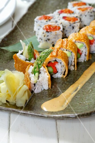 Sushi with green asparagus