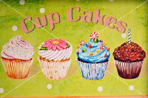 Cupcakes painted on a metal sign