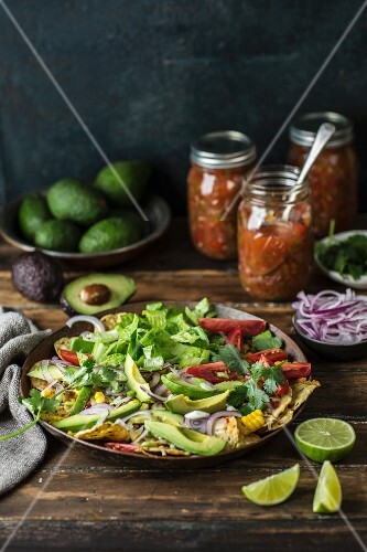 Nachos salad with avocado, tomatoes, sweetcorn and onions (Mexico)