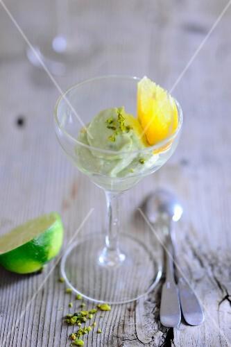 Sweet avocado cream in a dessert glass