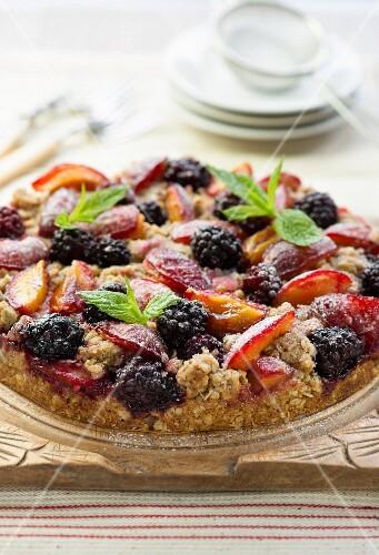 Plum and blackberry cake