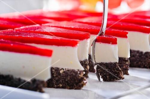 Slices of creamy poppyseed cake