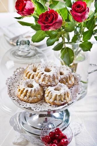 Mini Bundt cakes with cherries