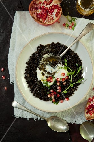 Lentils with yoghurt and pomegranate seeds