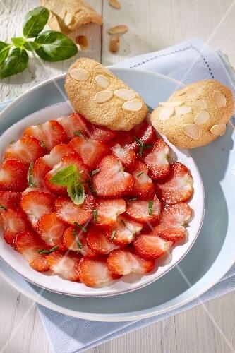 Strawberry carpaccio with almond tuiles