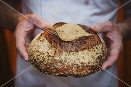 A baker holding a loaf of bread, London, England