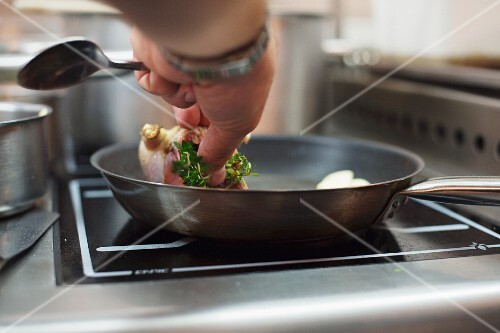 James Knappett preparing partridge at the restaurant Kitchen table, London, England
