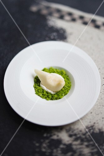 A pear with sorrel granita from the 'Kitchen Table' restaurant, London, England