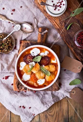 Tomato soup with fish and chorizo
