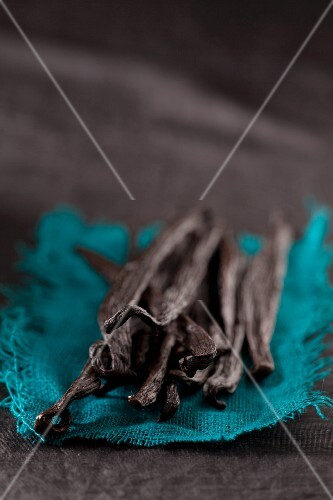 Vanilla pods on a piece of turquoise fabric