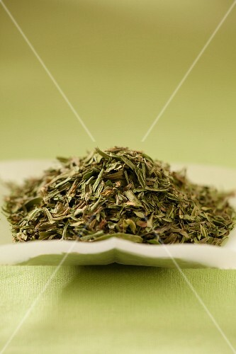 A pile of green tea leaves