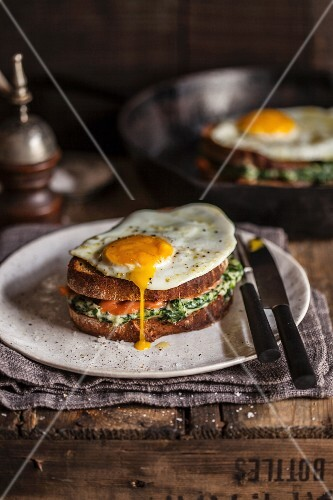Croque monsieur with salmon and spinach