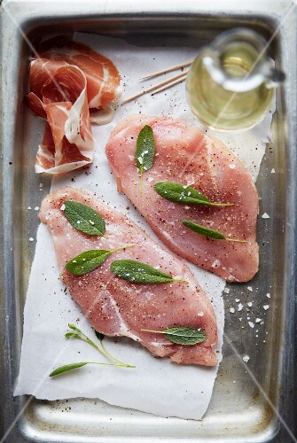 Raw chicken saltimbocca with sage, prosciutto and white wine