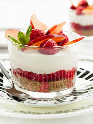 Raspberry and nectarine cheesecake in a glass