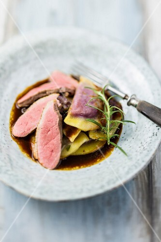 Duck breast with red cabbage ravioli