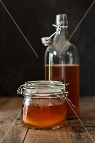 Kombucha with a tea mushroom