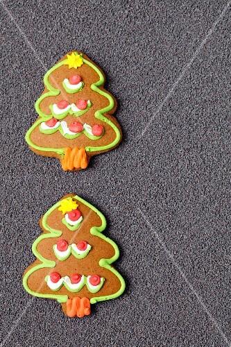Gingerbread Christmas trees on poppyseeds